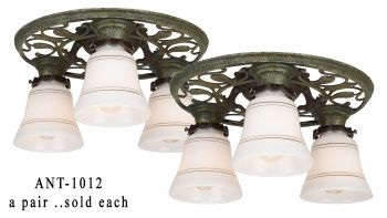 Matched pair of Turn of the Century, Three Light, Arts & Crafts, Low Ceiling Chandeliers. (ANT-1012)