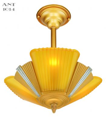 Art Deco Slip Shade Streamline Chandelier--Circa 1935 (ANT-1014)