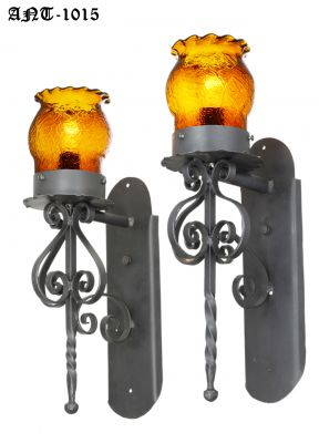 Pair of Gothic / Medieval Iron and Amber Crackle Glass Sconces (ANT-1015)