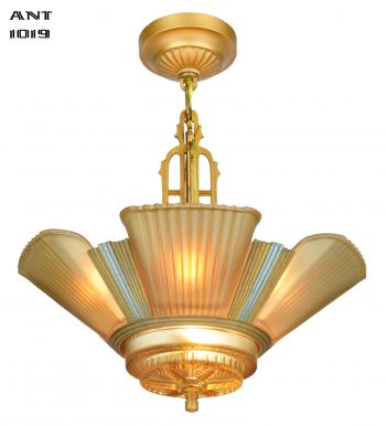 Art Deco Streamline 6 Light Chandelier by Mid-West Mnf (ANT-1019)