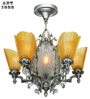 Art Deco Slip Shade Chandelier with Cut Glass Center Panels (ANT-1022)