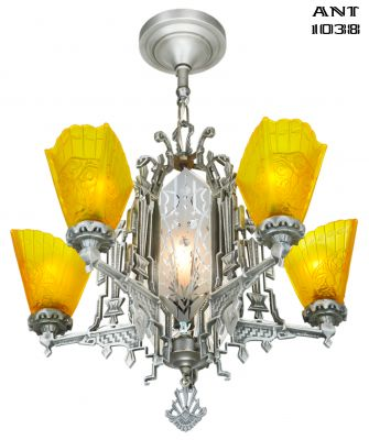 Art Deco Slip Shade Chandelier with Cut Glass Center Panels (ANT-1038)