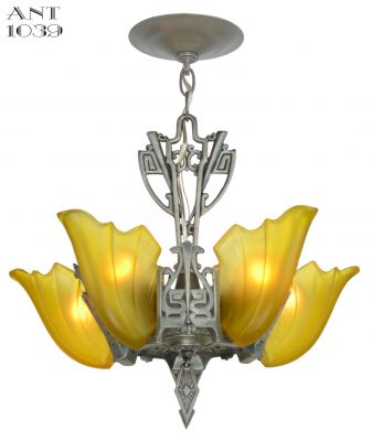 American Art Deco 5 Light Chandelier with Amber Shades (ANT-1039)