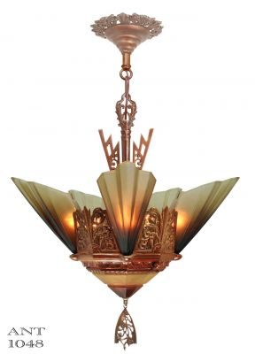 Solid Bronze Art Deco Slip Shade Chandelier by Mid West Mnf (ANT-1048)