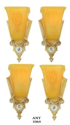 Pair of Interesting Art Deco Slip-Shade Sconces by Markel (ANT-1064)