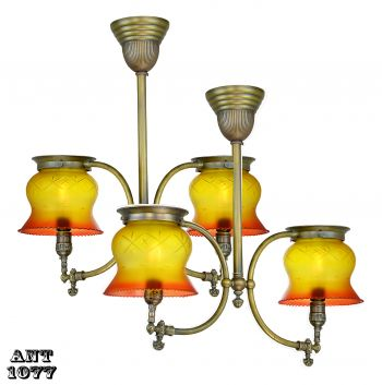 Two Near Matched Gas Two Light Hall Lights (sold each) (ANT-1077)