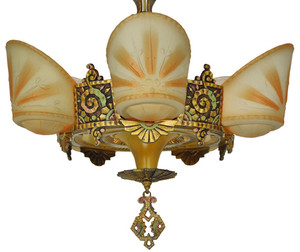 Antique-Williamson-5-Light-Art-Deco-Slip-Shade-Chandelier-(ANT-107)