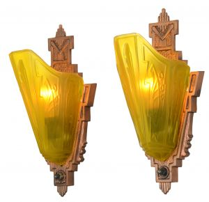 Pair of Nice Long Slip Shade Art Deco Sconces by Markel (ANT-1114)