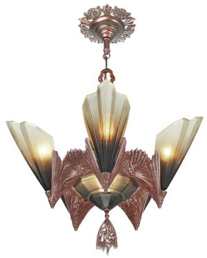 Art Deco Unique 6 Slip Shade Chandelier by Mid West (ANT-1116)