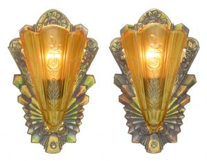 Pair of Lovely Art Deco Polychrome Sconces c1933 (ANT-1118)