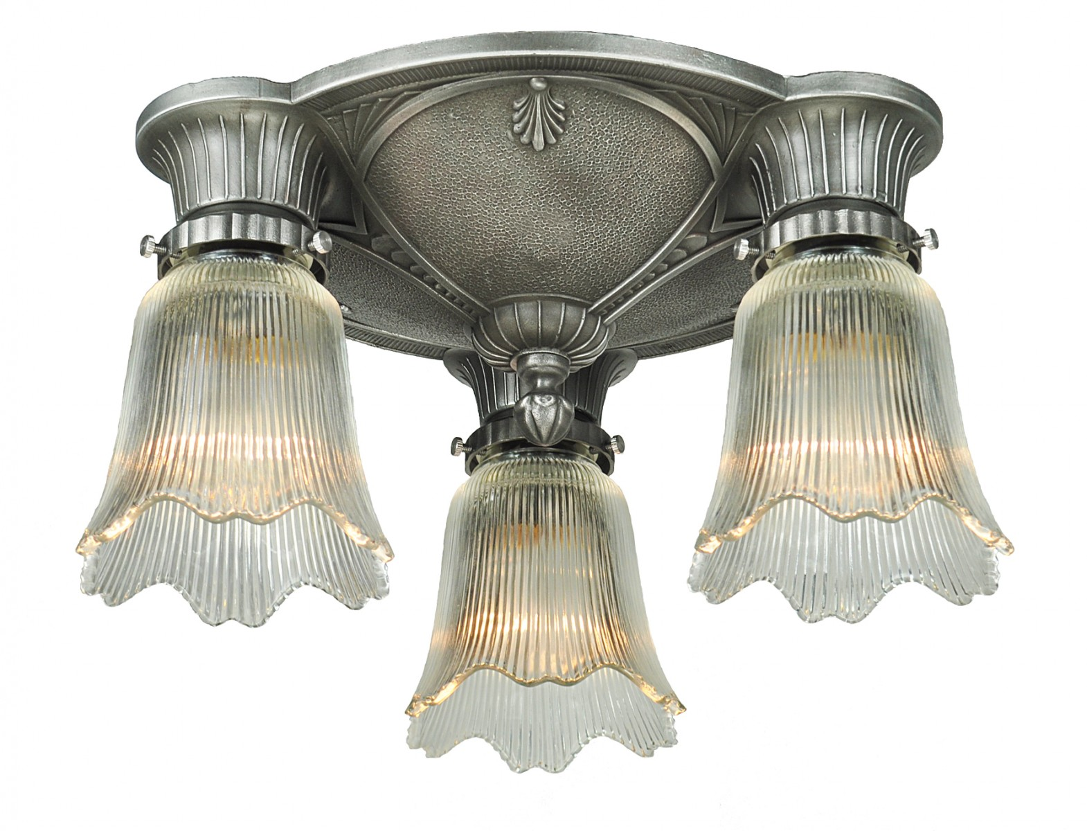 Vintage Hardware Lighting Three Antique Restored Art Deco Close Ceiling Lights Ant 1125