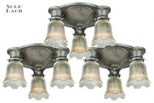 Three Antique Restored Art Deco Close Ceiling Lights (ANT-1125)