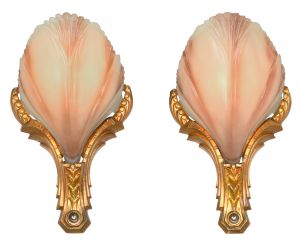 Art Deco Slip Shade Pair of Sconces by Mid West..Circa 1930 (ANT-1128)