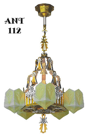 Antique Lincoln Mfg Presentation Quality Slip Shade Chandelier Circa 1935 (ANT-112)