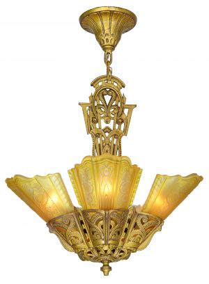American Art Deco 5 Light Chandelier by Lightolier (ANT-1131)
