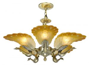 Striking Peacock 5-Arm Chandelier (ANT-1134)