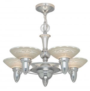 Antique Art Deco Streamline 5-Light Chandelier (ANT-1136)