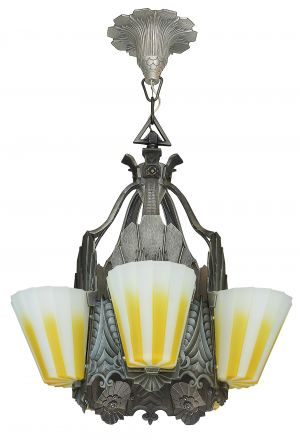 Fabulous Williamson Slip Shade Art Deco Five Slip Shade Chandelier (ANT-1138)