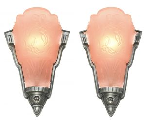 Pair of Unusual American Art Deco Slip Shade Sconces by Globe (ANT-1140)