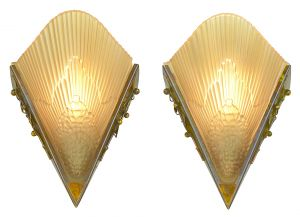 Nice Pair of French Circa 1935 Art Deco Slip Shade Sconces (ANT-1141)
