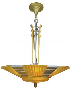 Art Deco Streamline Slip Shade Chandelier--Circa 1935 (ANT-1142)