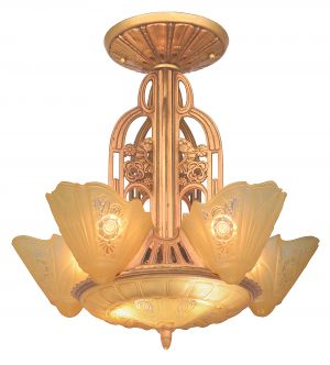 American Art Deco 5-Light, 6-Shade Chandelier by Lightolier (ANT-1143)