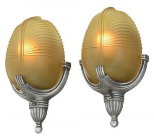 Pair of Neat Art Deco Streamline Sconces by Markel (ANT-1144)
