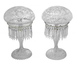 Near-Pair of Cut Crystal Table Lamps--Outstanding. (ANT-1145)