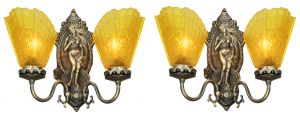 "Antique Edwardian Pair of ""Venus"" Double Arm Wall Sconces (ANT-1147)"