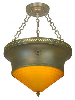 Art Deco/Mid-Century Chandelier with Neat Step Streamline Amber Glass Shade (ANT-1148)