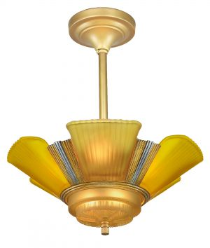 Art Deco Streamline 6-Light Chandeliers by Mid-West Mnf. (ANT-1150)