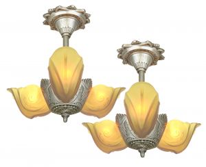 Moe Bridges Art Deco 3 Slip Shade Chandelier for a Lower Ceiling (ANT-1152)