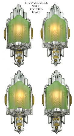 Two Pairs of Nice Slip Shade Art Deco Sconces (Matching and Sold by Each Pair) (ANT-1154)