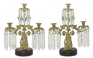 Mid-Victorian Bronze and Crystal Girandoles Set (ANT-1157)