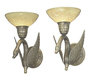 Striking Pair of Swan Sconces with Quality Embossed Shades (ANT-1158)