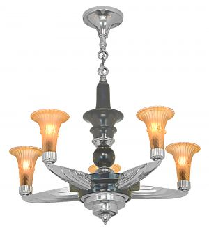 French Art Deco 5-Shade Chandelier (ANT-1161)
