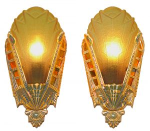 Art Deco Pair of Unusual Slip Shade Wall Sconces by Lincoln (ANT-1162)