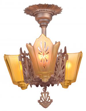 Antique Restored Red-Bronzed Finished Art Deco Slip Shade Chandelier (ANT-1163)