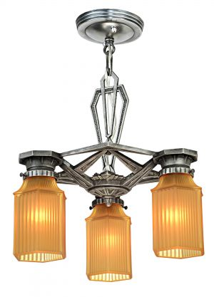 Early Art Deco Ceiling Three Shade Chandelier (Circa 1910-30) (ANT-1165)