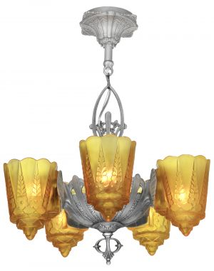 American Art Deco 5 Slip Shade Chandelier by Lincoln (ANT-1166)