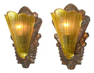 Pair of Lovely Art Deco Antiqued Sconces...Circa 1933 (ANT-1169)