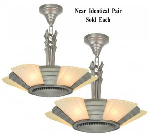 Art Deco Streamline Slip Shade Chandeliers--Circa 1935 (ANT-1171)