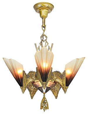 Six-Shade, Old Gold Chandelier by Mid West Mnf. 1930 (ANT-1173)