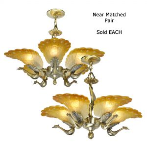 Pair of Near-Matched Striking Peacock 5-Arm Chandeliers...Sold Each (ANT-1174)