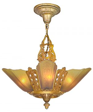 Moe Bridges Art Deco 5 Slip Shade Chandelier (ANT-1184)