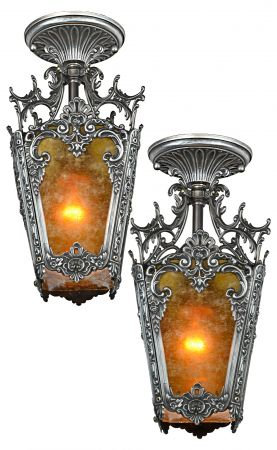 Pair of Louis-Style Pewter Finished Hall Lights (SOLD EACH) (ANT-1187)