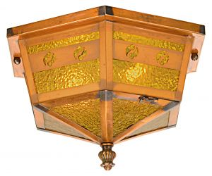 Edwardian, Low Ceiling, Japanned Copper Finished Light Fixture (ANT-1190)