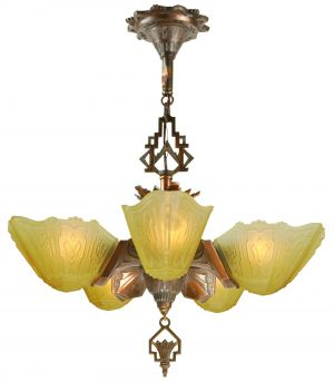 Art Deco 5-Shade Chandelier by Markel (ANT-1192)