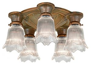 Antique Restored Art Deco Close Ceiling Chandelier (ANT-1194)