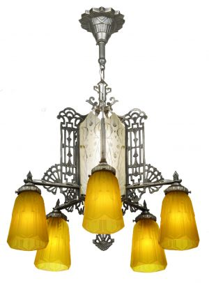 Art Deco Chandelier with Cut Glass Center Panels (ANT-1197)
